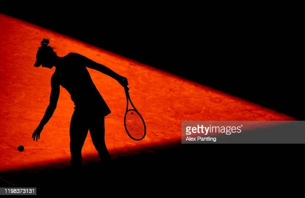 Polona Hercog of Slovenia serves in her match against Sloane Stephens of The United States during day two of the Mutua Madrid Open at La Caja Magica...