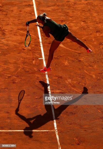 Polona Hercog of Slovenia serves to Svetlana Kuznetsova of Russia during day three of the Internazionali BNL d'Italia 2018 tennis at Foro Italico on...