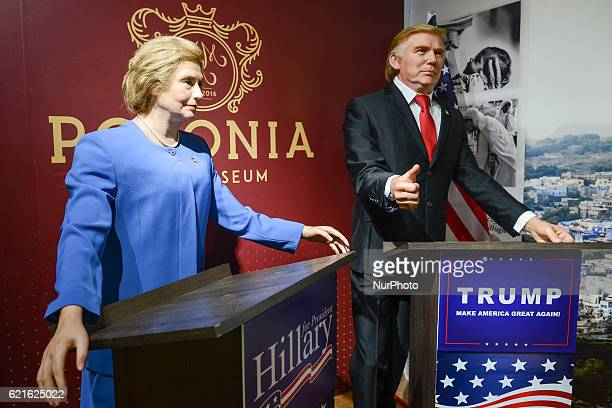 'Polonia' Wax Museum in Krakow unveills the wax figures of the two nominees for the 2016 Presidential election in the United States Hillary Clinton...