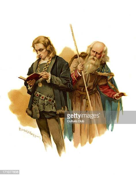 Polonius addresses Hamlet who is reading in Hamlet Prince of Denmark by William Shakespeare Act II Scene 2 Queen 'But look where sadly the poor...