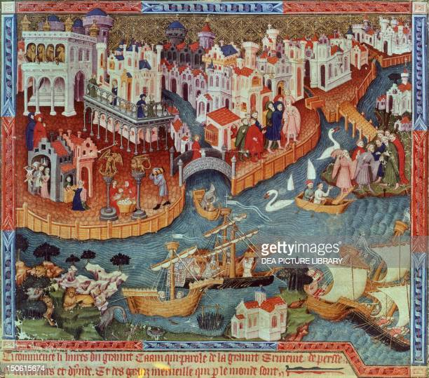Polos' departure from Venice miniature from Livre des merveilles du monde by Marco Polo and Rustichello France 15th Century