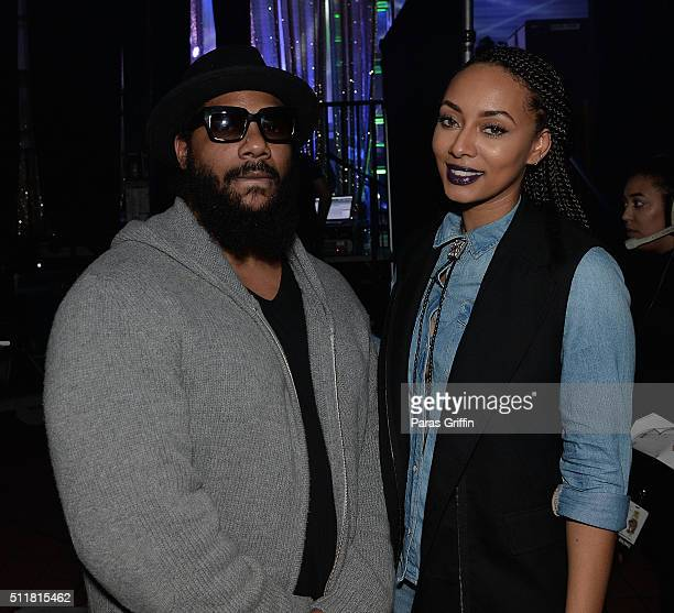 Polow da Don and Keri Hilson backstage at TIDAL X TIP at Greenbriar Mall on February 22 2016 in Atlanta Georgia