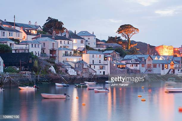 polruan at dusk, cornwall, u.k. - cornwall england stock pictures, royalty-free photos & images