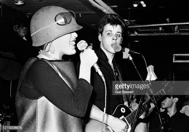 Poly Styrene and Jak Airport of punk band XRay Spex performing on stage at one of their first gigs at The Roxy London England on 11th March 1977