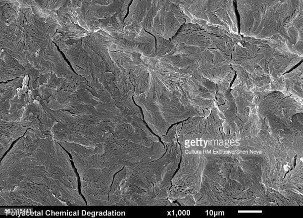 Polyacetal Plastic Chemical Degradation. Failure Spherulites, SEM