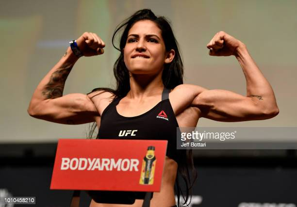 Polyana Viana of Brazil poses on the scale during the UFC 227 weighin inside the Orpheum Theater on August 3 2018 in Los Angeles California