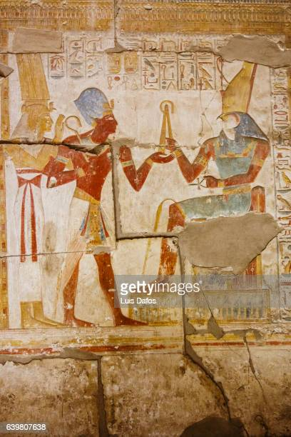 Polychromatic hieroglyphic showing The god Horus and Pharaoh Seti I at Abydos
