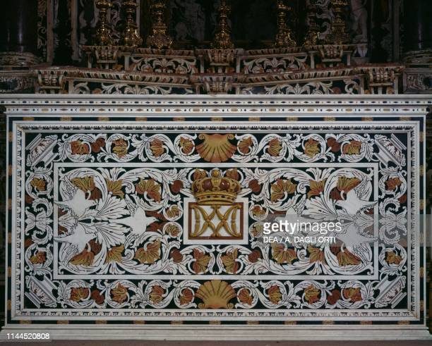Polychrome marble altarpiece from the baroque altar of St Peter 17th century Monreale cathedral Monreale Sicily Italy