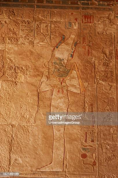 Polychrome relief of Osiris god of Alterlife Temple of Hatshepsut New Kingdom Eighteenth Dynasty Egypt