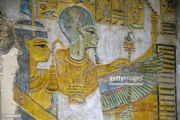 polychrome wall painting, tomb of ramose, theban necropolis, luxor, egypt - egyptian god stock pictures, royalty-free photos & images