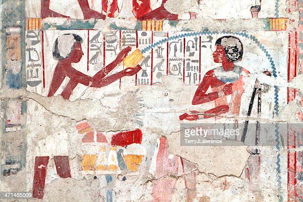 polychrome wall painting, tomb of userhat, theban necropolis, luxor, egypt - tomb paintings egypt stock photos and pictures