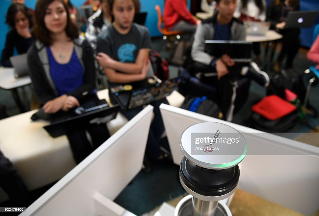 A Polycom 360 camera sits on top of a Centro system, a high tech video conferencing system at STEM Highlands Ranch high school February 21, 2018.