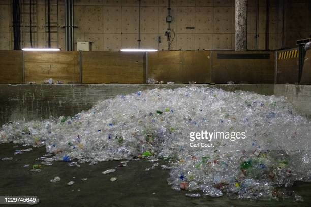 Polyethylene terephthalate plastic bottles are stored before being processed at Minato Resource Recycle Centre on November 19 2020 in Tokyo Japan...