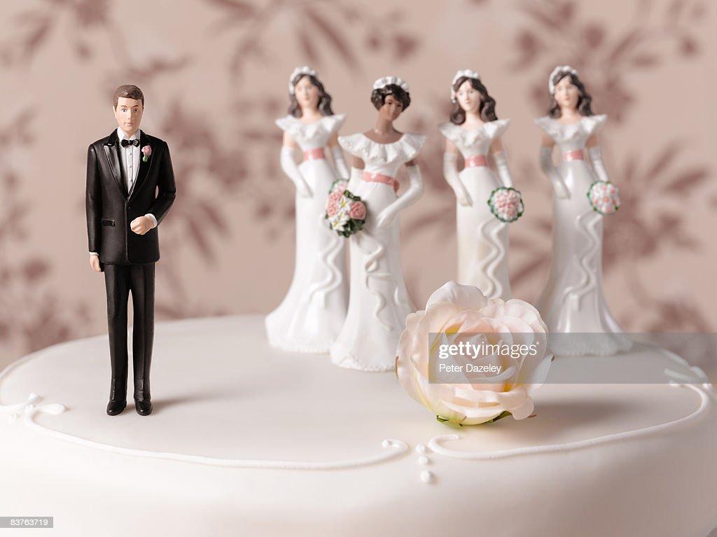 Polygamy wedding cake : Stock Photo