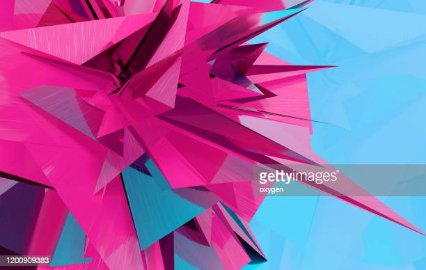polygon 3d acute angle background triangle pattern in blue magenta color - geometriestunde stock-fotos und bilder