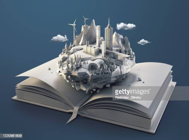 Polygon floating island landscape in a book