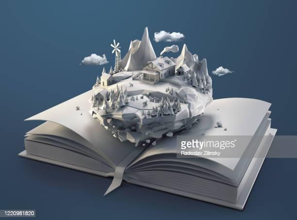 polygon floating island landscape in a book - fantasiewelt stock-fotos und bilder
