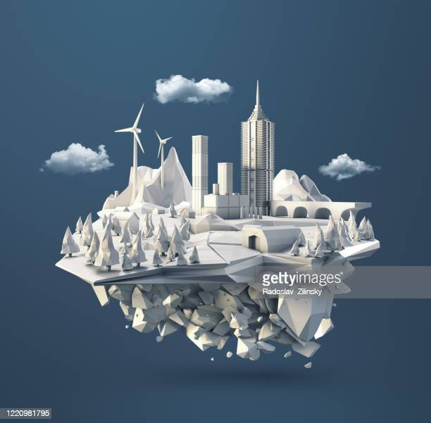 polygon floating island landscape - art product stock pictures, royalty-free photos & images