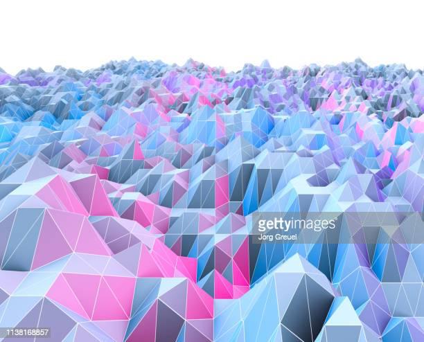 polygon landscape - zweidimensionale form stock-fotos und bilder