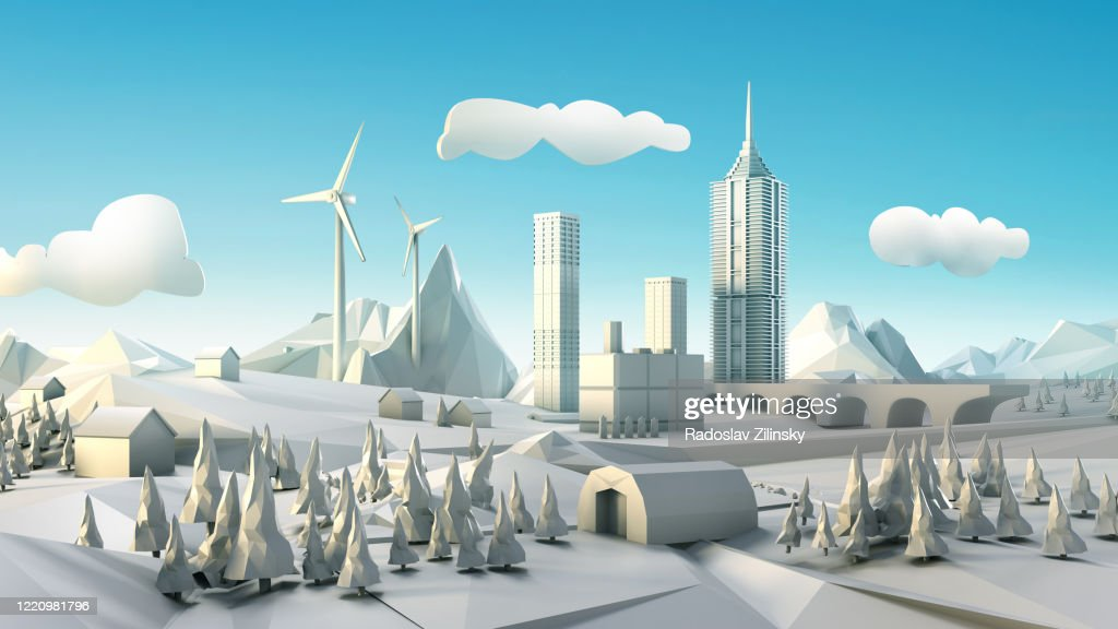 Polygon landscape with windmill, city and forests : Foto stock