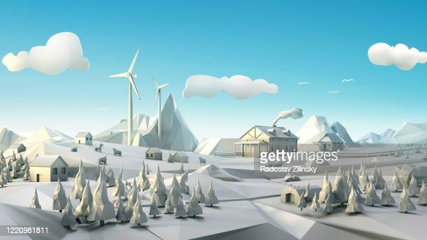 polygon landscape with windmill, cottage and forests - town fotografías e imágenes de stock