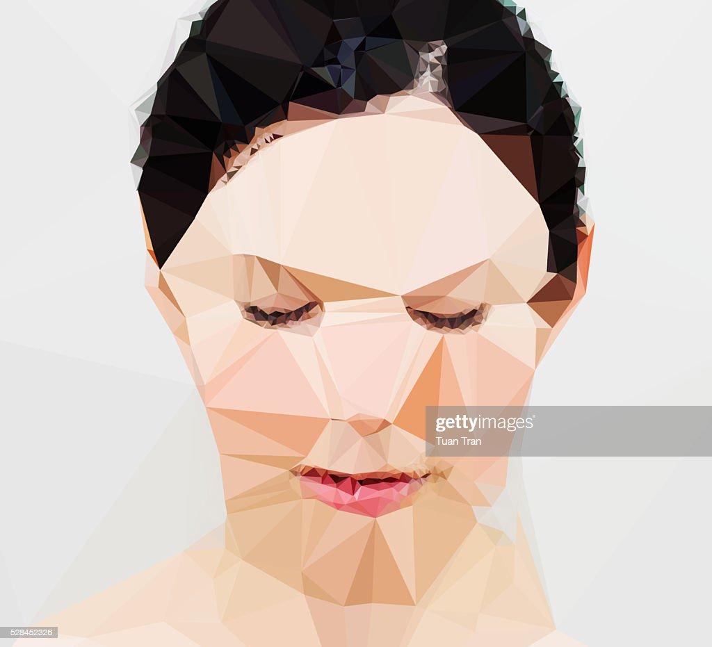Polygon portrait of a woman : Stock Photo