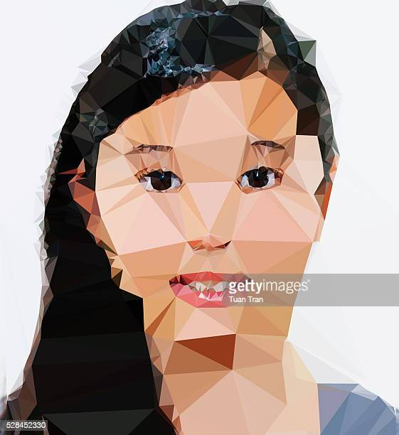 Polygon portrait of asian girl