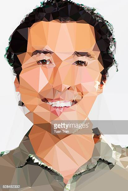 Polygon portrait of Asian man