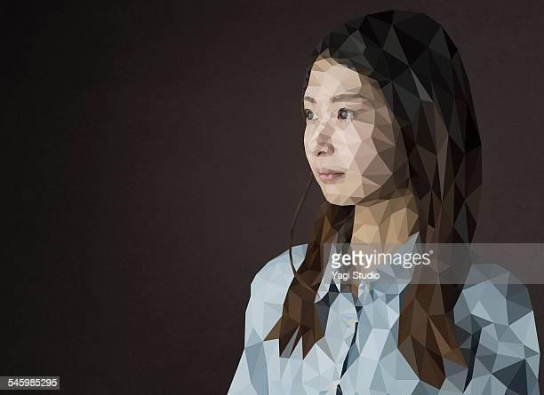 Polygon portrait of Asian woman