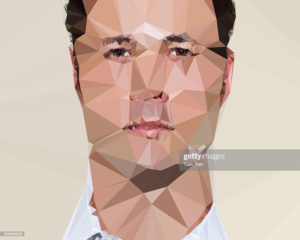 Polygon portrait of caucasian man : Stock Photo