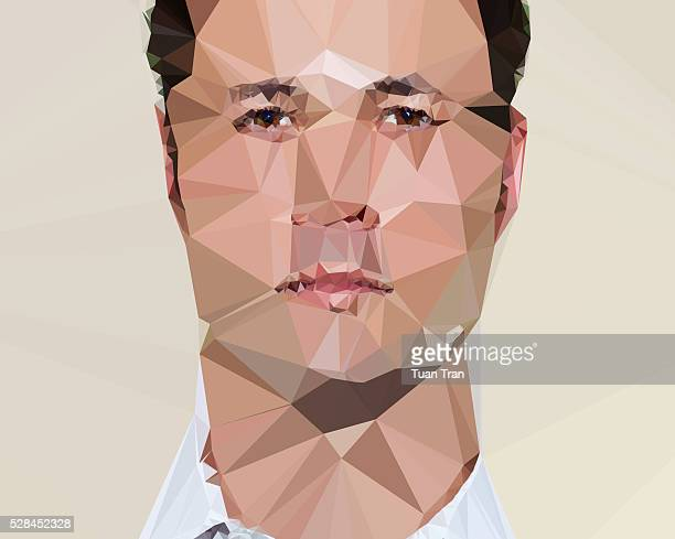 Polygon portrait of caucasian man