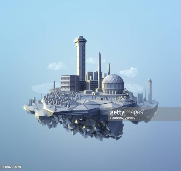 polygonal factory site - digitally generated image stock pictures, royalty-free photos & images