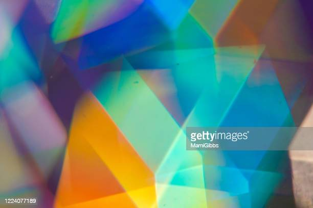 polyhedron prism reflected rainbow color - refraction stock pictures, royalty-free photos & images