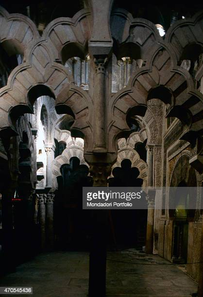 'Polylobated arches at the Cordoba Great Mosque by Mozarabic craftsmen 962987 10th Century carved stone and marble Spain Cordoba Whole artwork view...