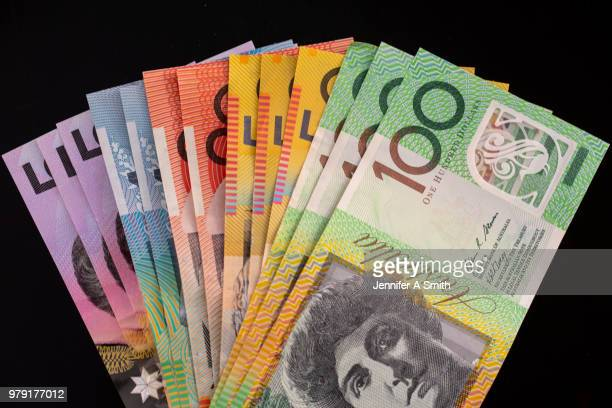 polymer australian bank notes - banknote stock pictures, royalty-free photos & images
