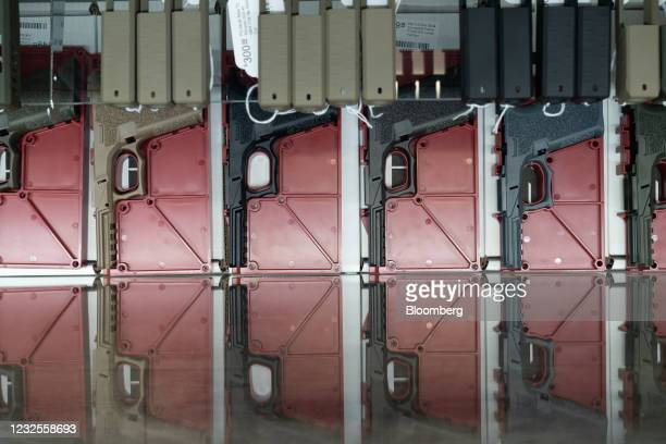 Polymer80 80% pistol frames for sale at Hiram's Guns / Firearms Unknown store in El Cajon, California, U.S., on Monday, April 26, 2021. President Joe...
