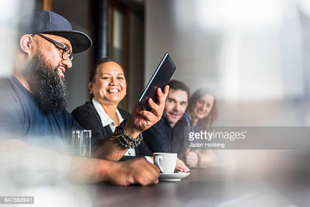 Polynesian Businessman in conference room