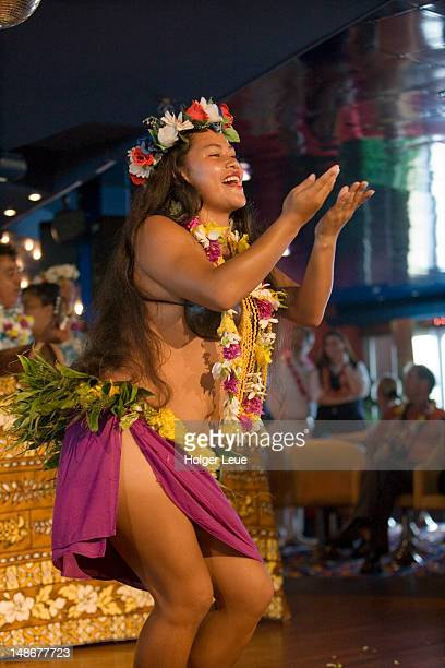 Polynesian dance performance aboard cruiseship MV Columbus (Hapag-Lloyd Cruises).