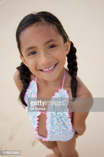 Polynsian 5 Year Old Girl At Beach High-Res Stock Photo ...