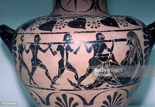 Polyphemus is having his eye put out by Odysseus and his companions This vase is from an Etruscan tomb