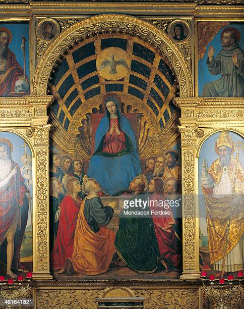 Polyptich of the Pentecost by Ambrogio da Fossano also known as Bergognone 16th century board Italy Lombardy Bergamo Church of the Holy Spirit Detail...