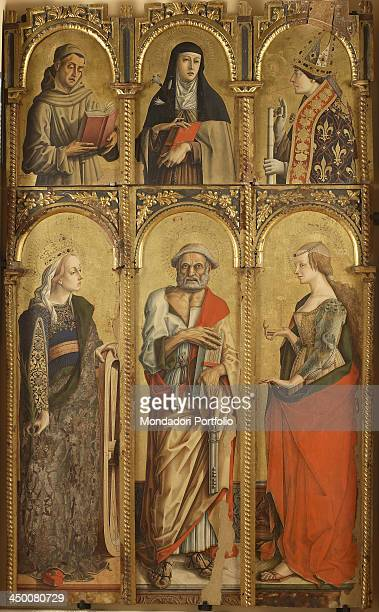 Polyptyc of Montefiore dell'Aso Saint Catherine Saint Peter Saint Mary Magdalene a Franciscan Saint Saint Chiara Saint Louis of Toulouse by Carlo...