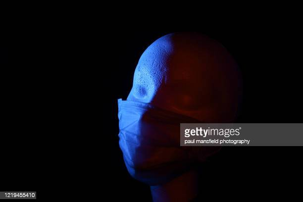 "polystyrene head wearing face mask - ""paul mansfield photography"" stock pictures, royalty-free photos & images"