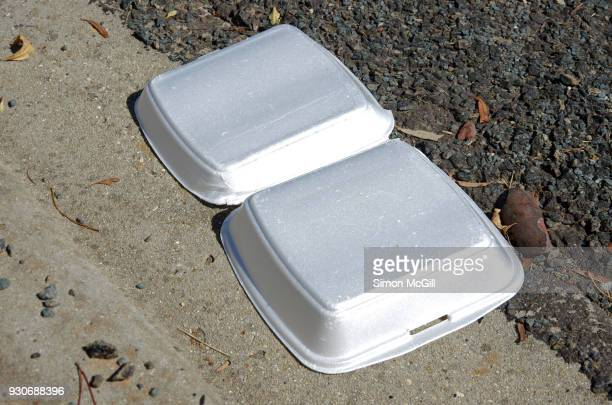 Polystyrene takeout burger container littering a road gutter