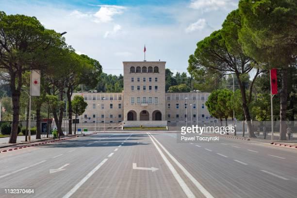 polytechnic university of tirana at mother teresa's square, tirana, albania, 2018 - nobel prize stock pictures, royalty-free photos & images
