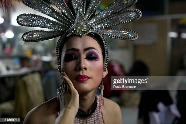 Pom a ladyboy dancer at the Chiang Mai Cabaret show gets ready for another show backstage September 8 2012 in Chiang Mai Thailand The Cabaret show is...
