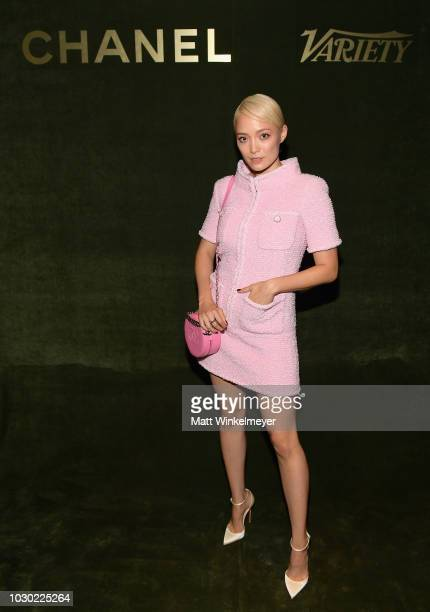 Pom Klementieff attends an evening hosted by CHANEL Variety to honour Keira Knightley at the Inaugural Female Filmmaker Dinner Toronto International...