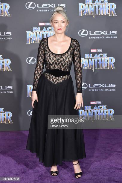 Pom Klementieff attends the Premiere Of Disney And Marvel's 'Black Panther' Arrivals on January 29 2018 in Hollywood California