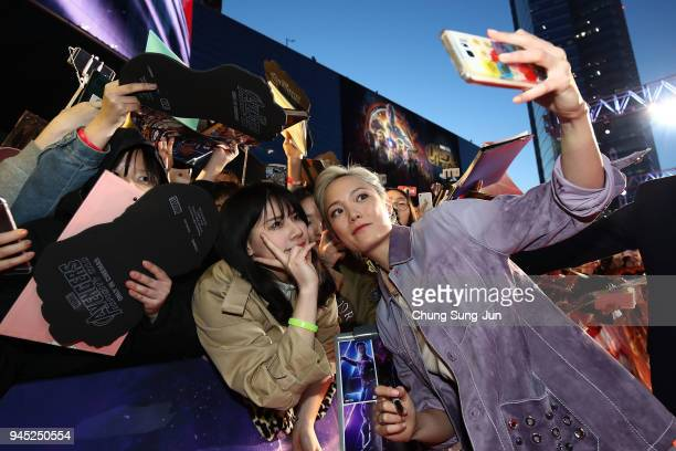 Pom Klementieff attends the Seoul premiere of 'Avengers Infinity War' on April 12 2018 in Seoul South Korea