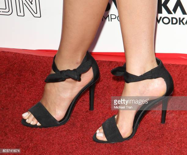 Pom Klementieff shoe detail arrives at the Los Angeles premiere of Neon's Ingrid Goes West held at ArcLight Hollywood on July 27 2017 in Hollywood...